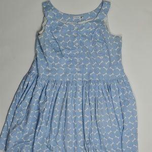 Calvin Klein Plus 24W Blue/White   Pouf Dress Cott